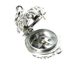 STERLING SILVER OPENING COMPASS ORB FOB CHARM