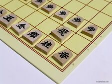 SHOGI (JAPANESE CHESS) WOODEN STUDY PIECES (1-KANJI) - NEAT FOLDING BOARD (819)