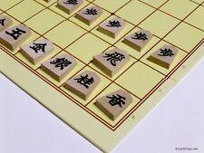 SHOGI (JAPANESE CHESS) WOODEN STUDY PIECES (1-KANJI) - NEAT FOLDING BOARD (819)