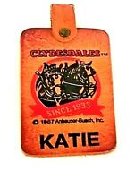 VINTAGE 1987 CLYDESDALES HORSES ANHEUSER BUSCH BREWER LEATHER KEYCHAIN KATIE