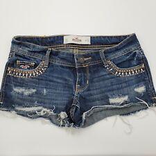 Hollister jean cutoffs shorts studs distressed juniors 00 W23 dark wash booty