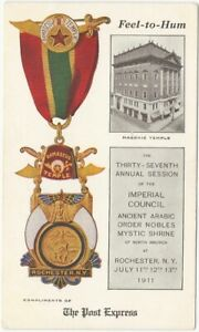 1911 Shriners 37th Annual Council Rochester New York Postcard