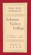 Antique 1926 Lebanon Valley College Baseball Pocket Schedule Early 1920's Old