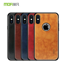 For iPhone XR XS Max, Mofi Hybird Leather Business Soft Frame Hard Case Cover