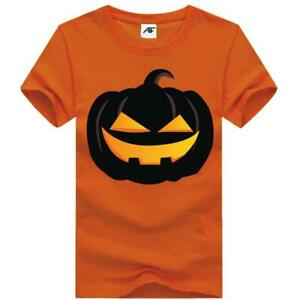Womens Funny Pumpkin Printed T Shirt Girls Short Sleeve Zombie Party Top