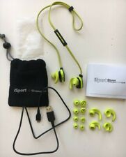 iSport Monster wireless bluetooth in earphones neon green, used Model: 190653