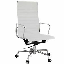 Eames Office Chair Ribbed High Back Aluminum Group Reproduction Leather White