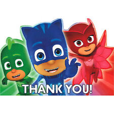 PJ MASKS THANK YOU NOTES (8) ~ Birthday Party Supplies Stationery Cards Disney