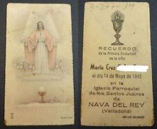 ESTAMPA PRIMERA COMUNION HOLY CARD 1942 NAVA DEL REY VALLADOLID           CC2092