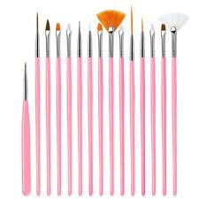 15Pcs Pink Nail Art Acrylic UV Gel Design Brush Set Painting Pen Tips Nail Tools