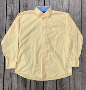 TOMMY HILFIGER Men's Yellow Long Sleeve Button Down Dress Shirt Size XL