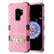 FOR SAMSUNG GALAXY S9 PLUS G965 LIGHT PINK GREY TUFF GEM STUDS STAND CASE COVER