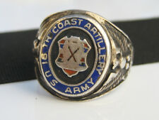 WWII US ARMY 16th Coast Artillery Pearl Harbor Sterling & Enamel Ring GROUSE CO.