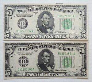Lot of 2 - 1934 & 1934 C - Federal Reserve Notes - $5 - AU+