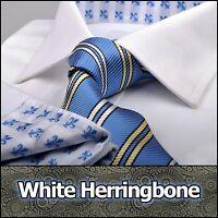 Men White Business Shirt French Cuff Formal Dress Herringbone Dress Luxury Boss