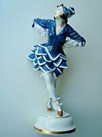 VINTAGE ART DECO HUTSCHENREUTHER GERMAN PORCELAIN LADY DANCER FIGURINE 10 1/4''