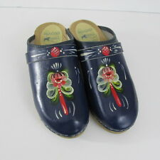 Dala Clogs Swedish Hand Painted  Wood Soles Blue Leather Size 38 7.5 M