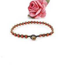 "Antique Brass Wax Cord Handmade Hippie Hot 10"" Charm Hamsa Flower Ankle Bracelet"