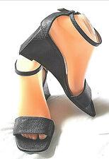 UK6 - sexy ankle strap Sandals Grey leather Faux Reptile  SEDUCTA Paris US8 EU39