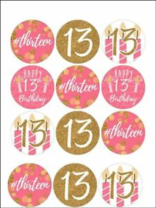 Thirteen 13th birthday teenager edible cupcake Toppers Wafer / Icing x12