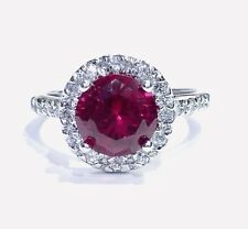 Sterling Silver Red Ruby Round Halo Cz Ring 925 Size 7