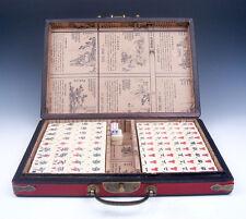 144 Tiles Mah-Jong Red Finish Leather Dragon Phoenix Fireball Wooden Box & Dices