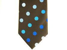 "Haines & Bonner of London Mens Necktie Tie Brown Blue Polka Dot 60"""