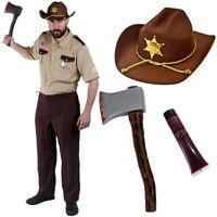 US SHERIFF COSTUME HALLOWEEN ZOMBIE HUNTER FANCY DRESS AMERICAN POLICE OFFICER