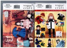 """VOGUE 9372 & 9442 PATTERNS Doll Clothes Coats Native American 18"""" American Girl"""