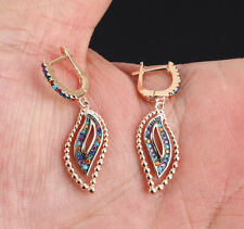 MIXED COLORS RUBY ROSE GOLD COLORED OVER STERLING SILVER EARRINGS #68210
