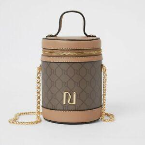 NEW River Island monogram cylinder bag in chocolate
