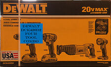 Dewalt DCK420D2 20V MAX Cordless Lithium-Ion 4-Tool Combo Kit - Brand New