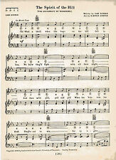 """Vintage UNIVERSITY OF TENNESSEE song sheet """"THE SPIRIT OF THE HILL"""" 1929 MUSIC"""