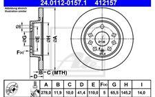 ATE Juego de 2 discos freno Trasero 278mm para MERCEDES E 24.0112-0157.1