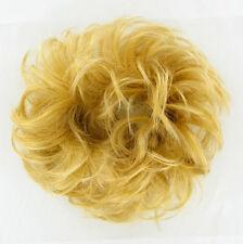 extension bollo en el cabello coletero rizado luz rubio dorado 17/lg26
