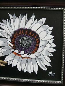 """C276  ORIGINAL ACRYLIC PAINTING BY LJH    """"AFRICAN DAISY WITH BUG"""""""
