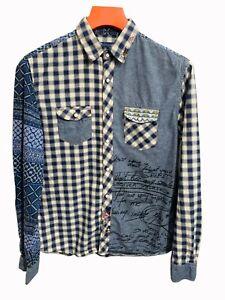 Desigual Mens Long Sleeve Shirt Check denim Long sleeve Patterend Shirt Size M