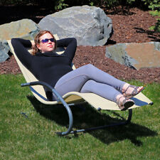 Sunnydaze Outdoor Rocking Wave Lounger with Pillow Lawn & Patio Beige - Set of 2
