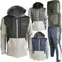 New Men Full zip Tracksuit Set Hoodie Zip Pockets Bottoms Joggers Pants S M L XL