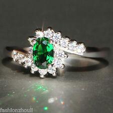 Hot 925 Silver Filled Green Sapphire Gemstone Size 8 Birthstone Wedding Ring 589
