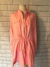 Gap 100% Cotton Neon Pink Shirt Dress Sz M Drawstring Waist Long Sleeve Collar