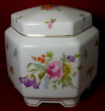 ROSENTHAL china FLOWERS pattern 6-Sided Covered Jar & Lid - 6-1/4""