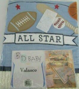 Baby Brandee Danielle BD Nursery Blue All Star Sports Window Valance New