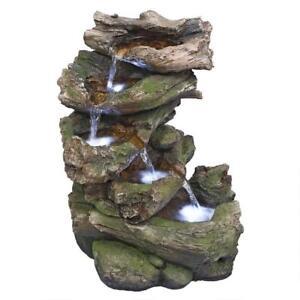 QN164053 - Mesquite Falls Illuminated Garden Fountain w/Pump & LED Lighting