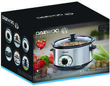 Daewood 280W Large 4.5L Stainless Steel & Black Ceramic Digital Slow Cooker -NEW