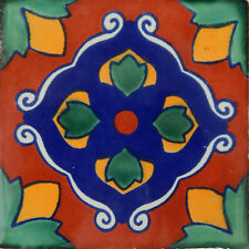 "Handmade Mexican Tile Sample Talavera Clay 4"" x 4"" Tile C337"
