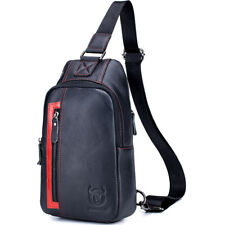 100% Genuine Leather Mens Cross Body Bag Shoulder Bags Sling Backpack for Hiking