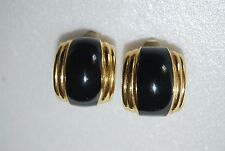 VINTAGE 1980'S HIGH END COUTURE GOLD TONED METAL AND BLACK ENAMEL CLIP EARRINGS