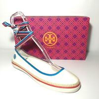NEW TORY BURCH 3D Ballet Lace Up Sneaker Cream Red Blue NIB Size 10.5 Women $150