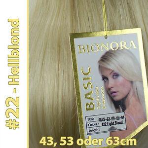 Clip-in Extensions mit Echthaar #22 Hellblond 40 50 60 + cm Haarverlängerung